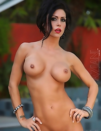 Jessica Jaymes shows off her naked beautiful body including her big clit and pierced pussy.