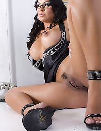 Mesmerizing busty brunette, Mariah Milano, is looking so smart, so classy and so beautiful in her black outfit & sexy high heels and even better o