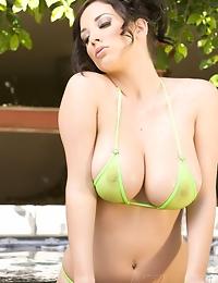 Gorgeous brunette, Jelena Jensen, shows off her incredible big boobs and hot curves in her Sheer see thru bikini. It's like not wearing a bikini